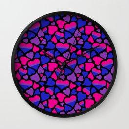 Bisexual Pride Hearts Wall Clock
