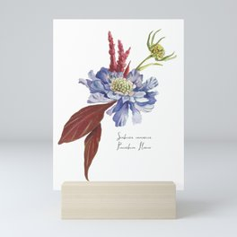 Blue Scabiosa Flower Mini Art Print
