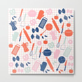 Cute Kitchen Tools in pink red and blue Metal Print