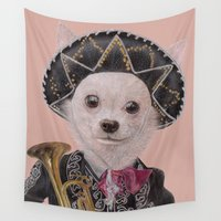 chihuahua Wall Tapestries featuring Mexican Chihuahua by Rachel Waterman