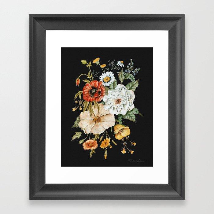Wildflower Bouquet on Charcoal Gerahmter Kunstdruck