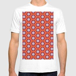 Pink, Orange and Grey Zigzag Flower Kaleidoscope Pattern T-shirt