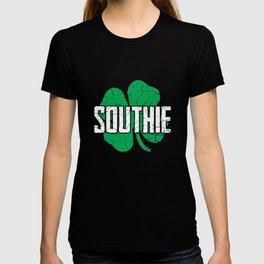 Southie Distressed Green Shamrock St Patricks Day T-shirt
