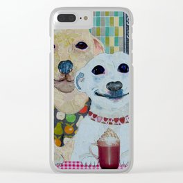What a pear! Two dogs with fancy coffee. Clear iPhone Case