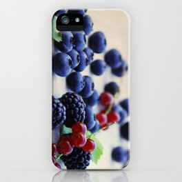 Fresh wild berries, blackberries, blueberries and currants in still life iPhone Case