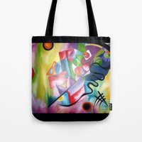 kandinsky Tote Bags featuring KANDINSKY - oil painting by Heaven7