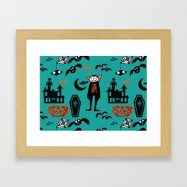 Cute Dracula and friends teal #halloween Framed Art Print
