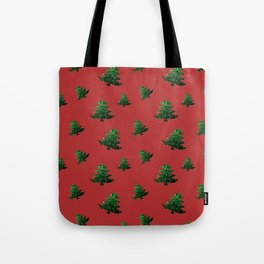 Sparkly Christmas tree green sparkles pattern on Red Tote Bag