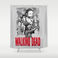 the walking dead Shower Curtains featuring Walking Dead by Matt Fontaine