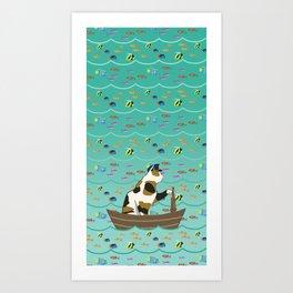 Captain Cat in seafoam Art Print