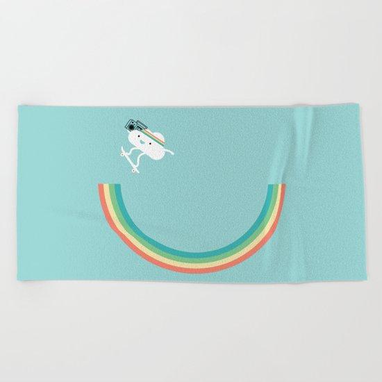 Skateboarding cloud Beach Towel