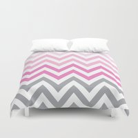 tina crespo Duvet Covers featuring TINA CHEVRON 5 by JUNE blossom