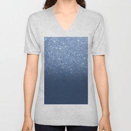 Modern trendy navy peony faux glitter ombre pattern Unisex V-Neck