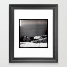 Girl on bed Framed Art Print
