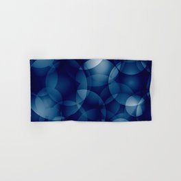 Dark intersecting translucent sea circles in bright colors with a blue glow. Hand & Bath Towel