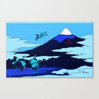 hokusai Canvas Prints featuring Hokusai by Nicky Hope