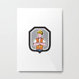 Construction Worker Arms Crossed Shield Cartoon Metal Print