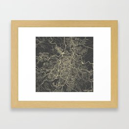 Jerusalem Map yellow Framed Art Print