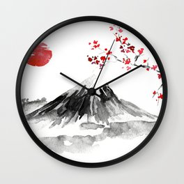 Sunset Over Mt Fuji Wall Clock
