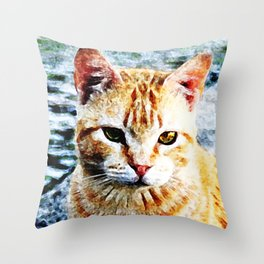 Young Yellow Cat Throw Pillow