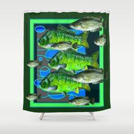 MODERN ART DECORATIVE GREEN FISH AQUATIC Shower Curtain