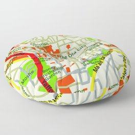 Jerusalem Map , Israel Floor Pillow