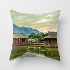 Water Huts Throw Pillow