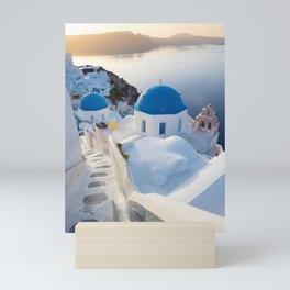 Blue domes of Santorini island during a calm sunrise | Travel photography Greece Mini Art Print