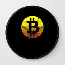 Vintage Sunset Bitcoin Wall Clock