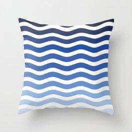 Ocean waves navy blue striped pattern, minimalist summer waves Throw Pillow