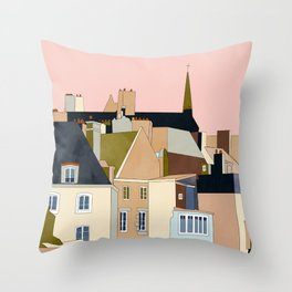 france brittany houses shape art Throw Pillow