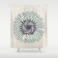 fibonacci Shower Curtains featuring Fibonacci by Jennifer Thy
