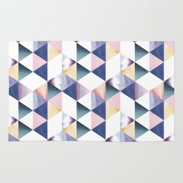 Watercolor geometric pastel colored seamless pattern Rug
