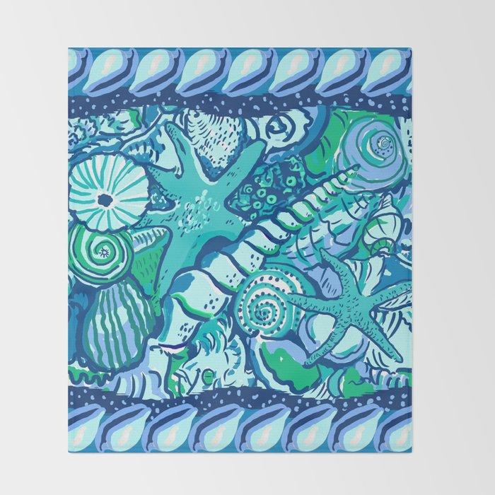 She Sells Sea Shells Blue Throw Blanket
