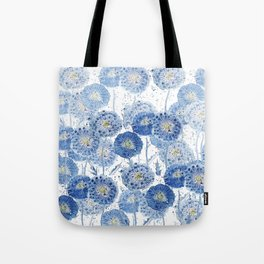 blue indigo dandelion pattern watercolor Tote Bag