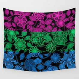Flight Over Flowers of Fantasy - Polysexual Pride Flag Wall Tapestry