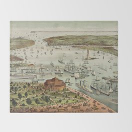 Vintage Pictorial Map of The Port of New York Throw Blanket