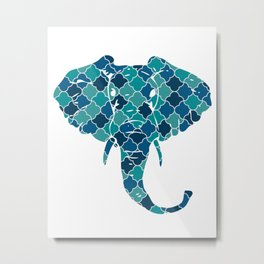 ELEPHANT SILHOUETTE HEAD WITH PATTERN Metal Print
