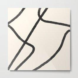 Thick Continuous Line Series 2 | Boho Home Decor, Modern Wall Art, Continuous Line Art, Contour Line Metal Print