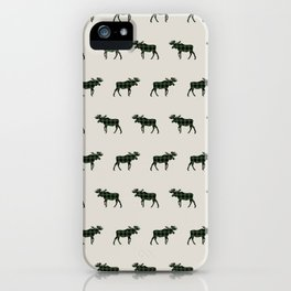 Moose Buffalo Plaid forest camping glamping outdoors forest bathing iPhone Case