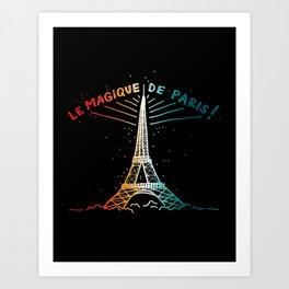 Le Magique De Paris (the magic of...) French Artwork, Eiffel Tower Print Art Print