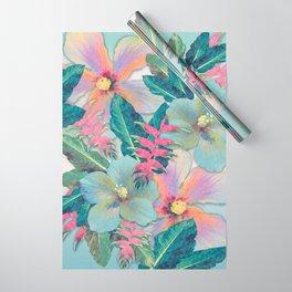Aqua Ginger Alohas Wrapping Paper