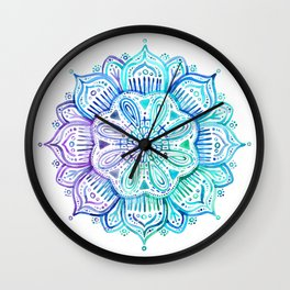 Iridescent Aqua and Purple Watercolor Mandala Wall Clock