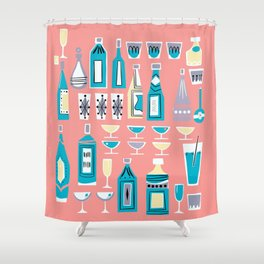 Cocktails And Drinks In Aquas and Pinks Shower Curtain