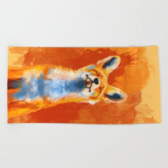 Happy Fox Beach Towel