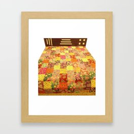 Multi Patchwork Floral Kantha Bedcover Framed Art Print