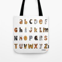 font Tote Bags featuring Perruna Font / Dog font by oyemathias