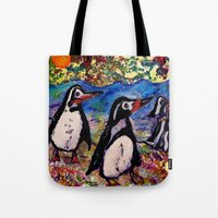 penguins Tote Bags featuring Penguins by gretzky