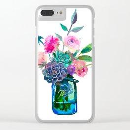 Watercolor flowers in mason jar Clear iPhone Case