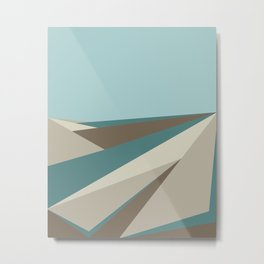 Geometric Plane - Blue Neutral Metal Print